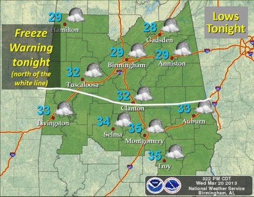 North Central Alabama Freeze Warning March 20, 2013