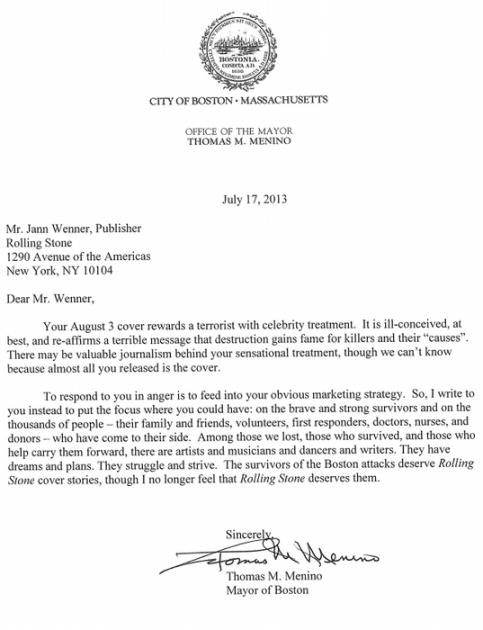 Boston Mayor Letter